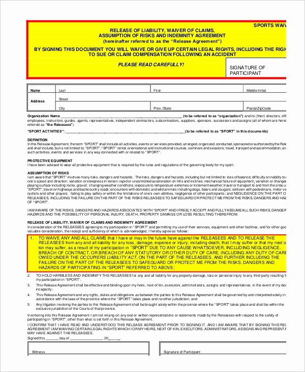 Liability Waiver form Template Free Fresh 11 Liability Waiver form Templates Pdf Doc