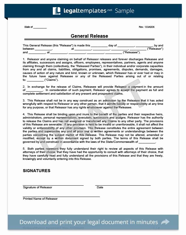 Liability Waiver form Template Free Fresh Free Release Of Liability form