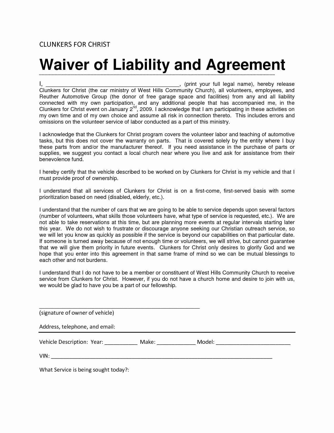 Liability Waiver form Template Free Lovely Liability Waiver Sample Bamboodownunder