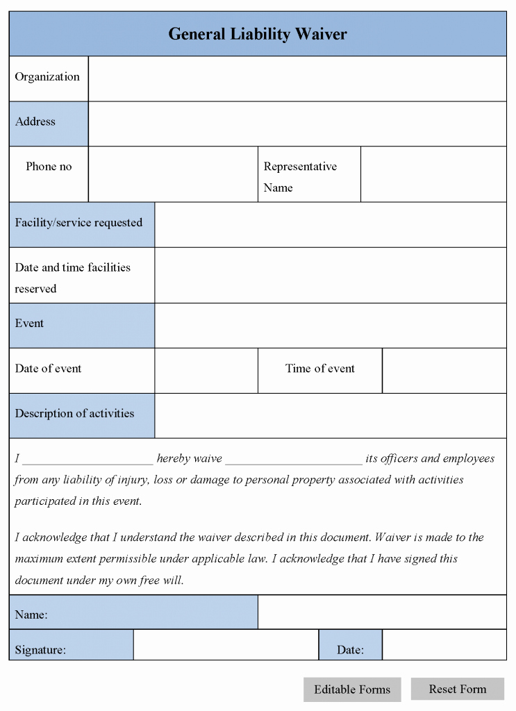 Liability Waiver form Template Free New Free Printable Liability Release Waiver form form Generic