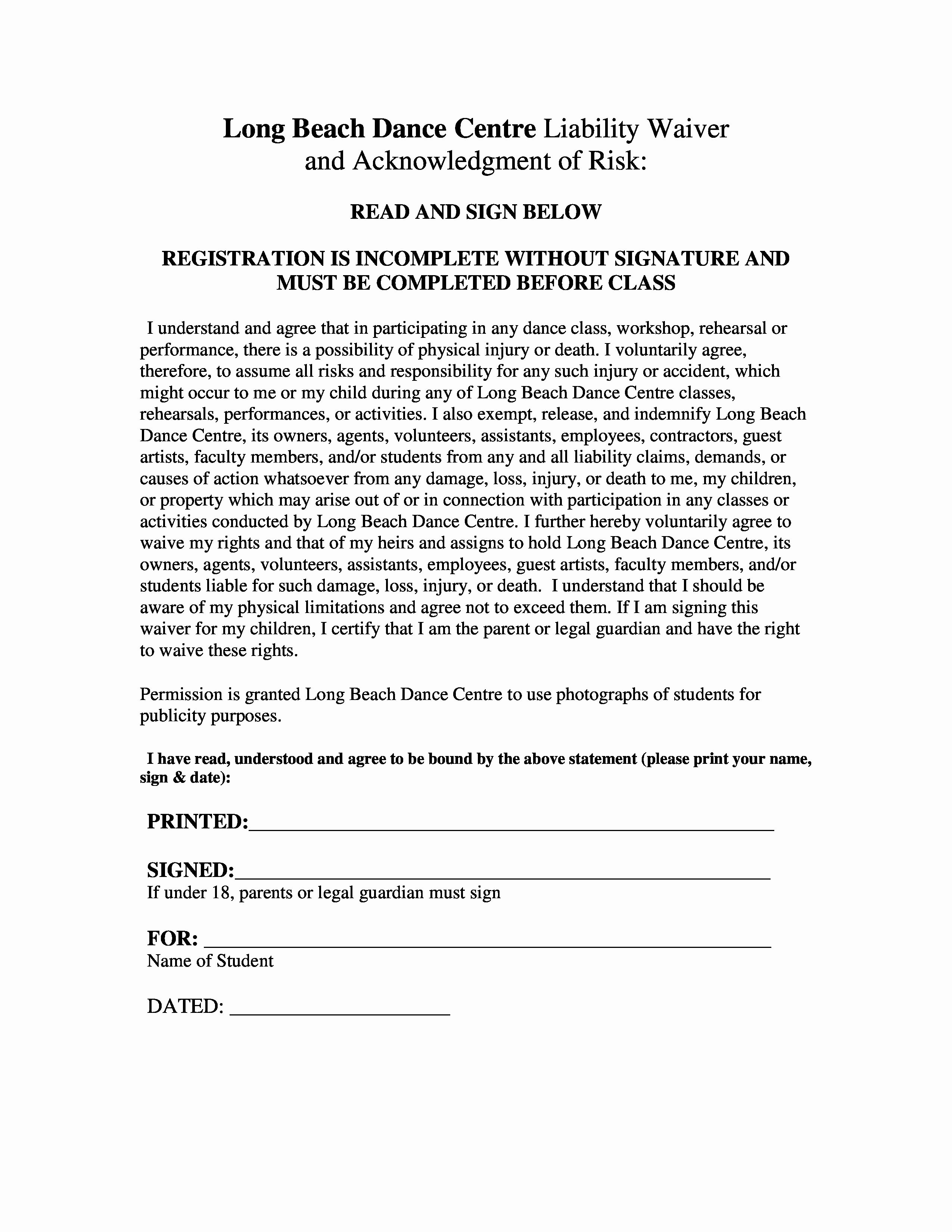 Liability Waiver form Template Free New Liability Waiver Release Printables
