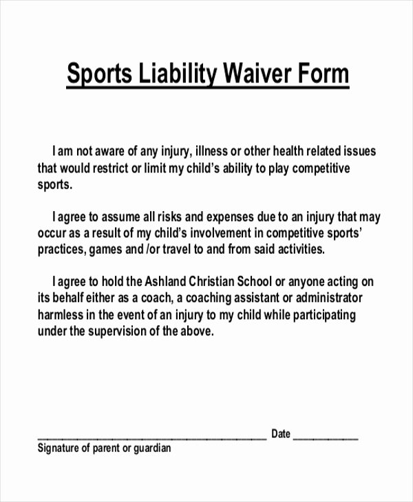 Liability Waiver form Template Free New Sample Liability Waiver form 11 Free Documents In Pdf