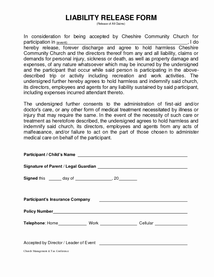 Liability Waiver form Template Free Unique form Injury Waiver form