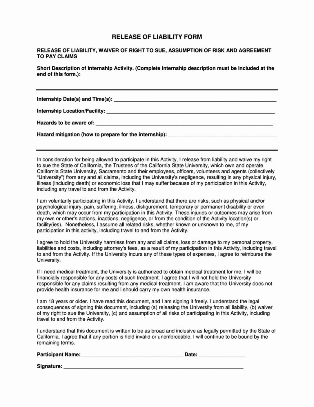 Liability Waiver form Template Free Unique General Liability Release form Template Sampletemplatess