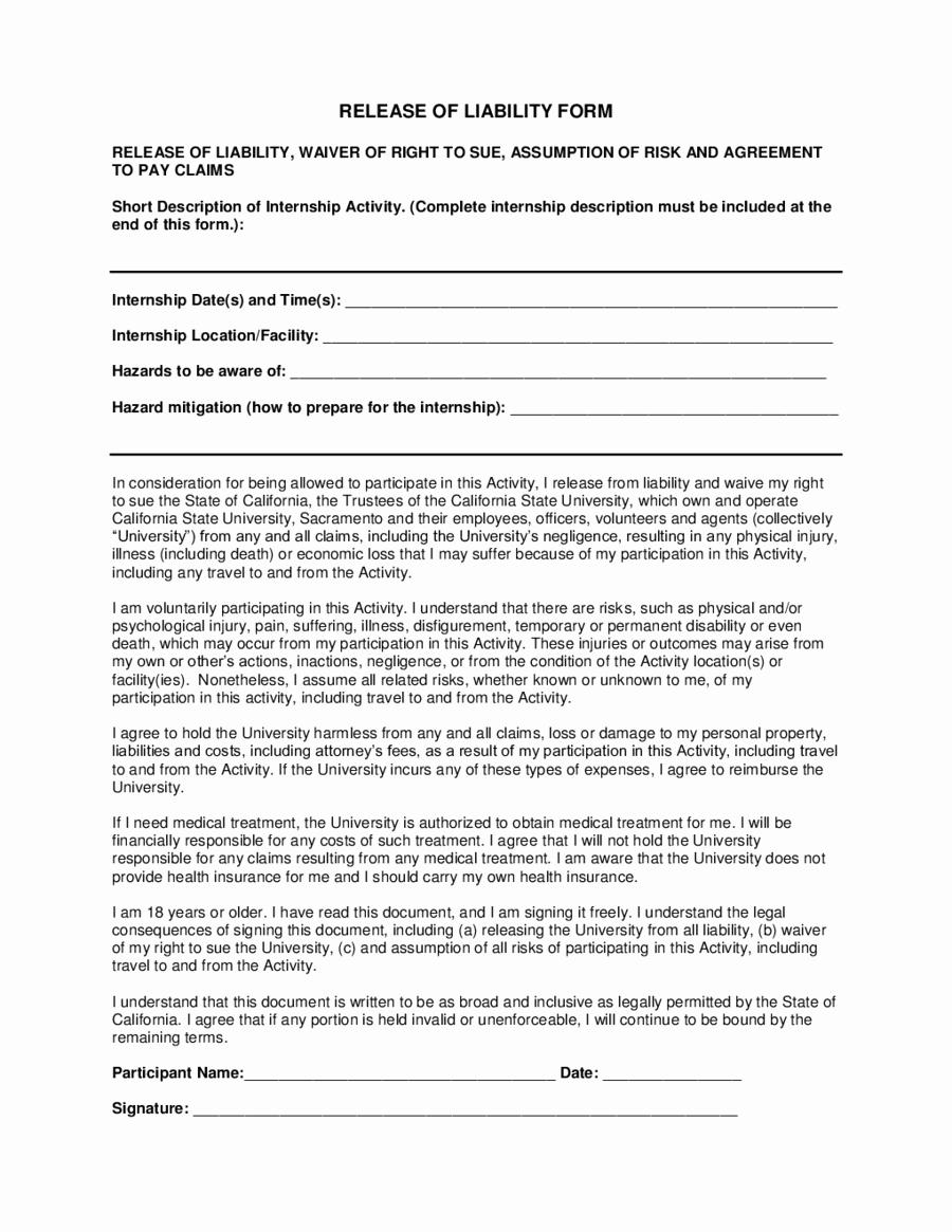 Liability Waiver form Template Free Unique Liability Waiver form form Trakore Document Templates