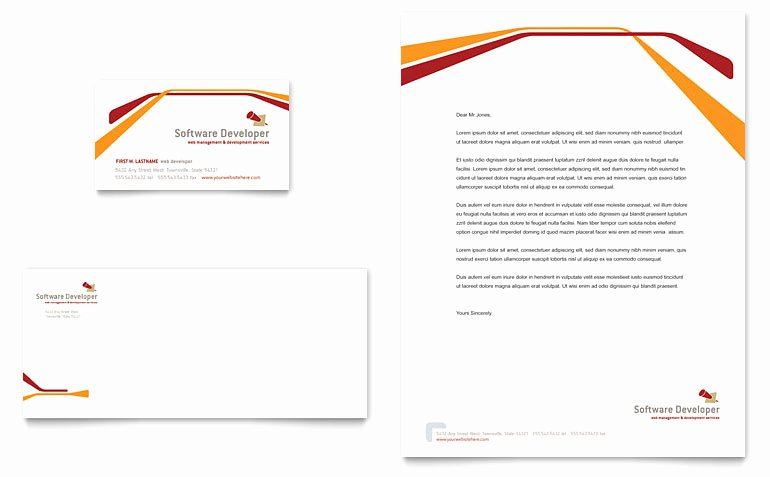 Library Card Template Microsoft Word Awesome software Developer Business Card & Letterhead Template