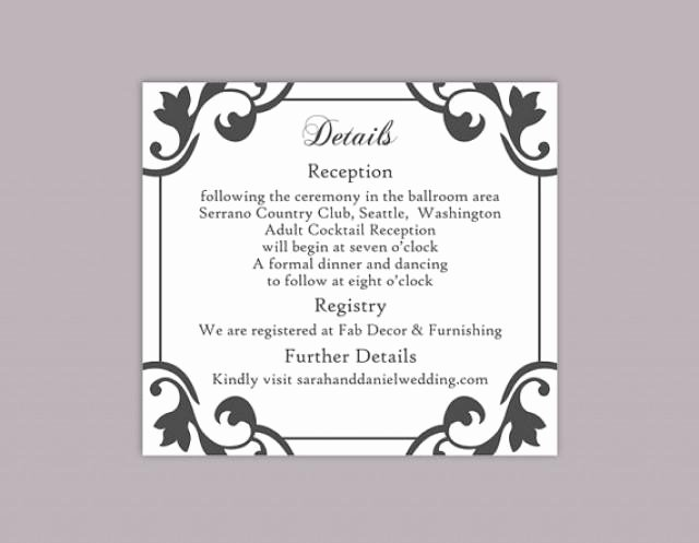 Library Card Template Microsoft Word Unique Diy Wedding Details Card Template Editable Word File