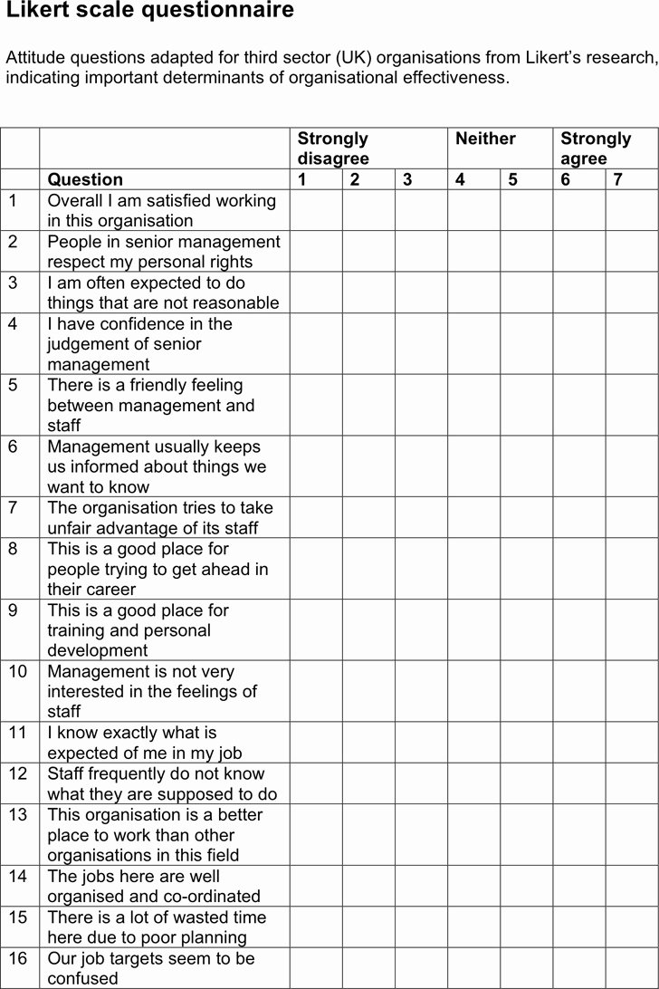 Likert Scale Survey Template New Likert Scale Template