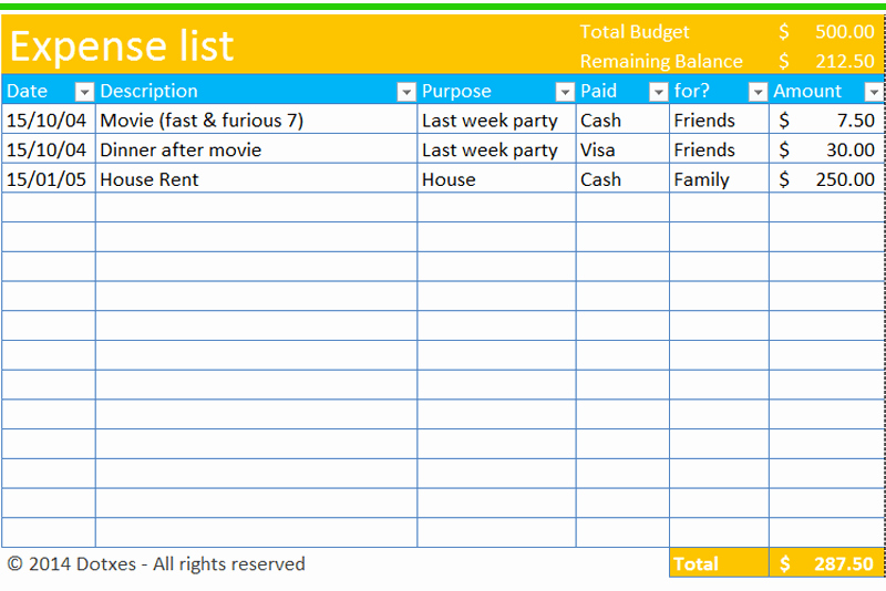 expense list template