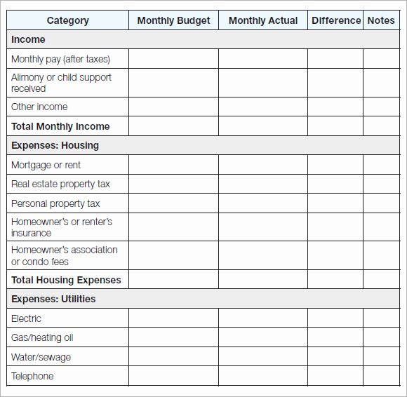 List Of Monthly Expenses Template Luxury 11 Household Bud Samples