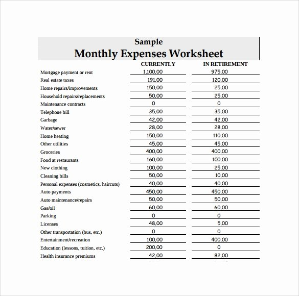 List Of Monthly Expenses Template New 14 Sample Expense Sheet Templates to Download