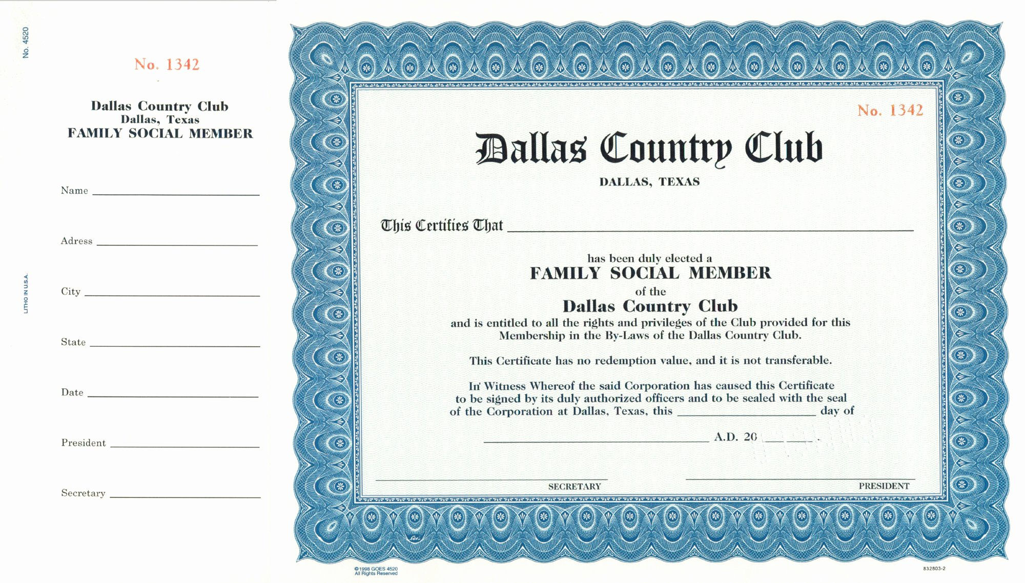 Llc Member Certificate Template Awesome Custom Certificate – Goes Lithographing 4520 – Corporate