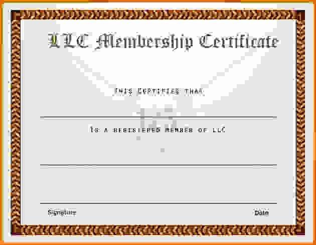 Llc Member Certificate Template Inspirational Membership Certificate Templatereference Letters Words