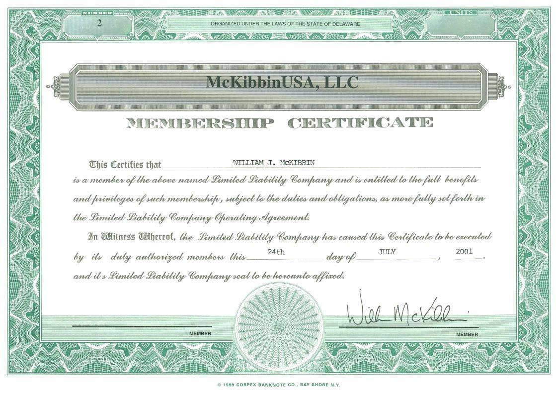 Llc Membership Certificate Template Luxury Membership Certificate Llc Example