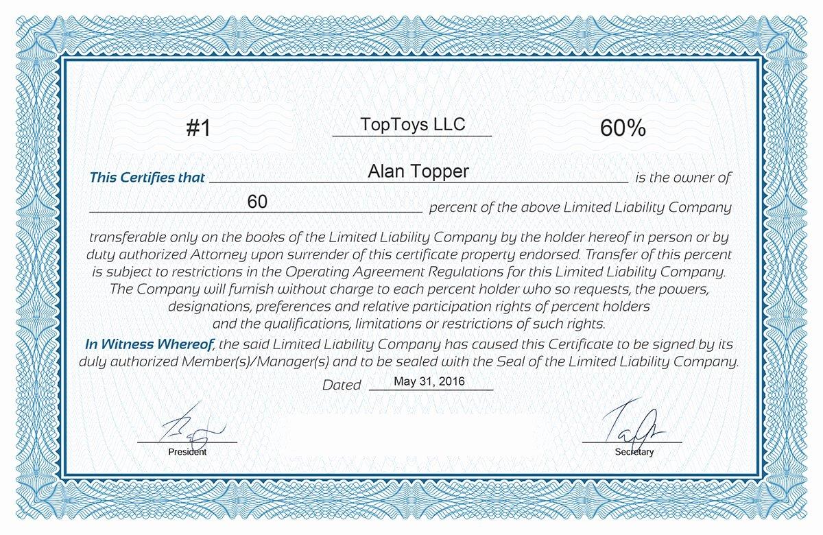 Llc Stock Certificate Template Elegant Free Stock Certificate Online Generator