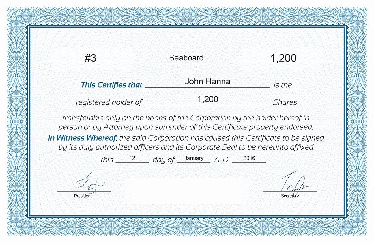 Llc Stock Certificate Template Inspirational Free Stock Certificate Online Generator