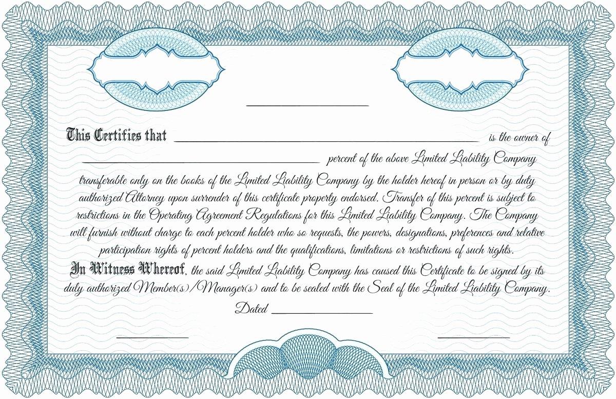 Llc Stock Certificate Template Lovely Template Corporation Stock Certificate Template