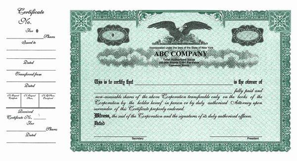 Llc Stock Certificate Template New Stock Certificates Custom Stock Certificates Custom