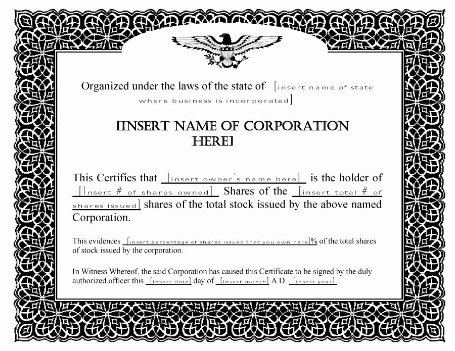 Llc Stock Certificate Template Unique 40 Free Stock Certificate Templates Word Pdf