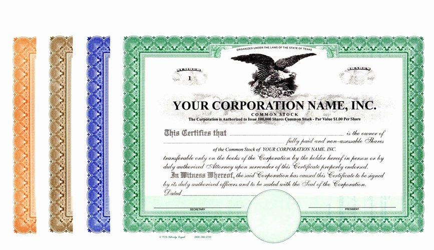 Llc Stock Certificate Template Unique Corporation Stock Certificates