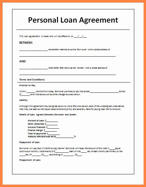 Loan Agreement Between Friends Template Beautiful 8 Personal Loan Agreement Between Friends
