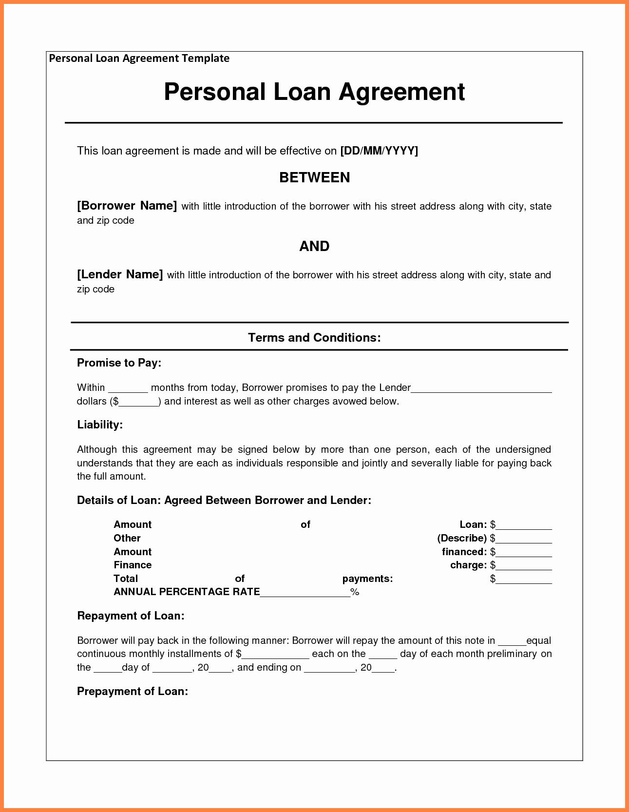 Loan Agreement Between Friends Template Inspirational 4 Personal Loan Agreement Template Between Friends