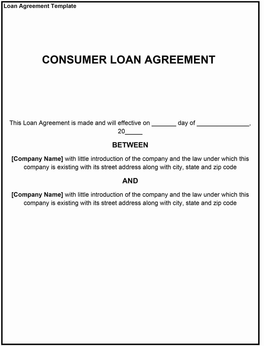 Loan Agreement Template Free Best Of 40 Free Loan Agreement Templates [word & Pdf] Template Lab