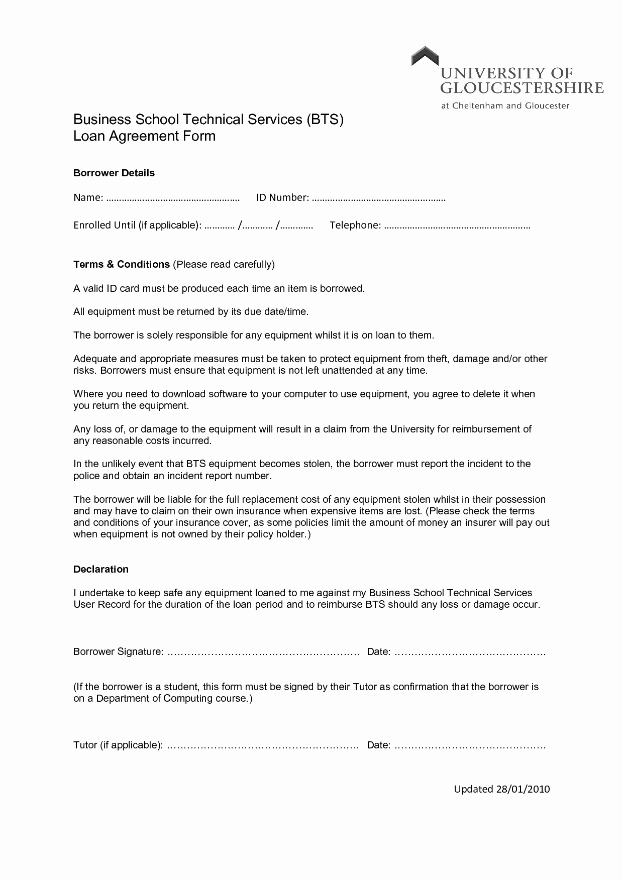 Loan Agreement Template Free Fresh Printable Sample Loan Agreement form form