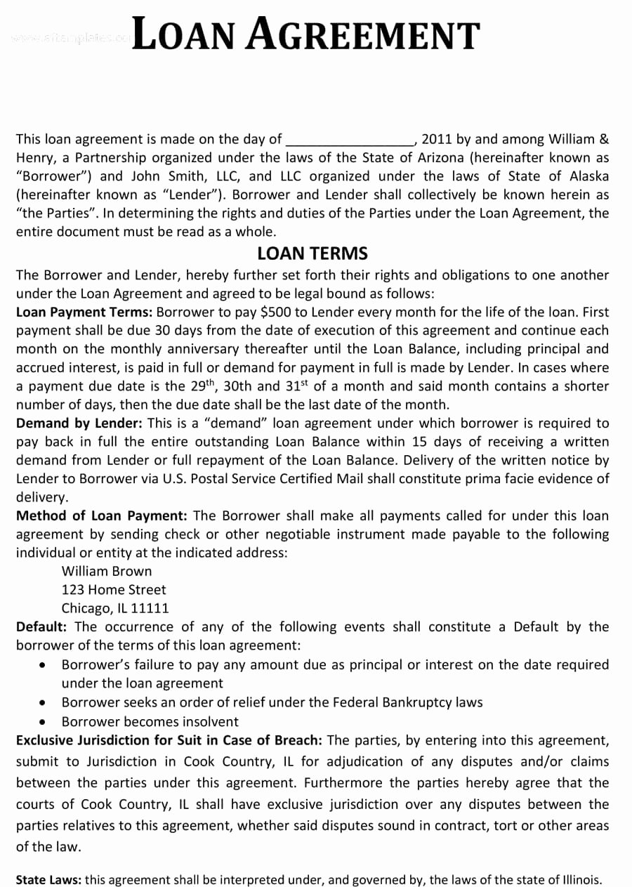 Loan Agreement Template Free Lovely 40 Free Loan Agreement Templates [word & Pdf] Template Lab