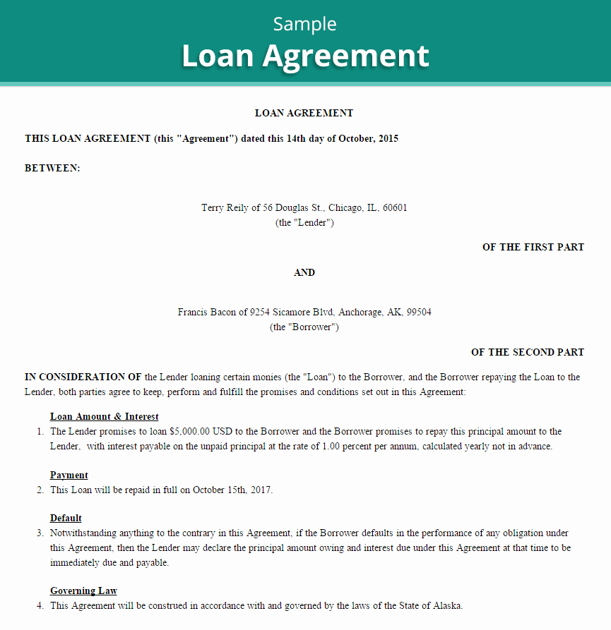 Loan Agreement Template Free New 20 Loan Agreement Templates Word Excel Pdf formats