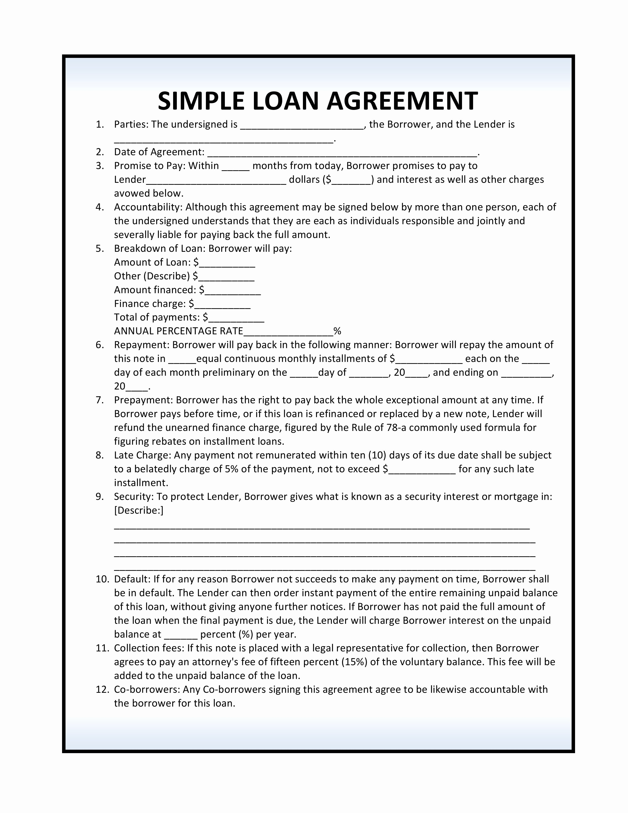 Loan Agreement Template Free Unique Personal Loan Document Template Bamboodownunder