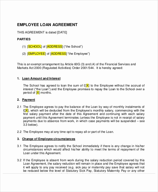 Loan Agreement Template Pdf Fresh 25 Loan Agreement Templates