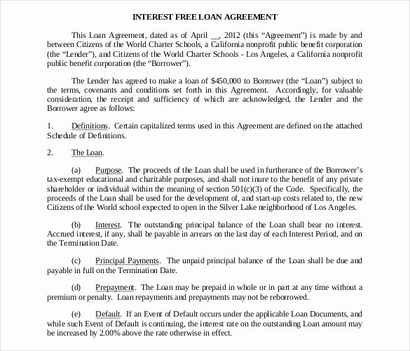 Loan Agreement Template Pdf Fresh Loan Contract Template – 20 Examples In Word Pdf
