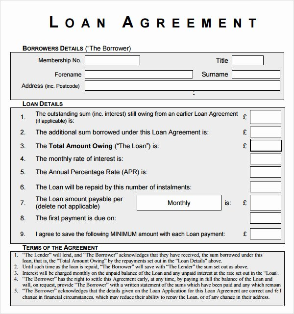 Loan Agreement Template Pdf Inspirational 10 Sample Standard Loan Agreement Templates