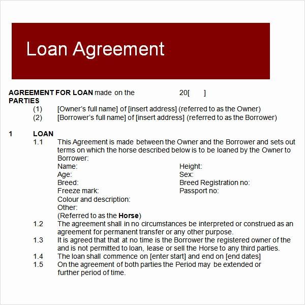 Loan Agreement Template Pdf Lovely 10 Sample Standard Loan Agreement Templates