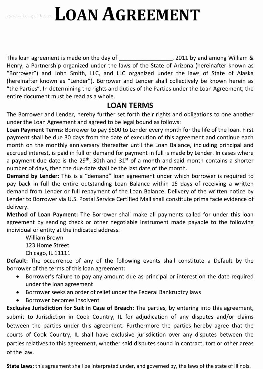Loan Agreement Template Pdf Lovely 40 Free Loan Agreement Templates [word & Pdf] Template Lab