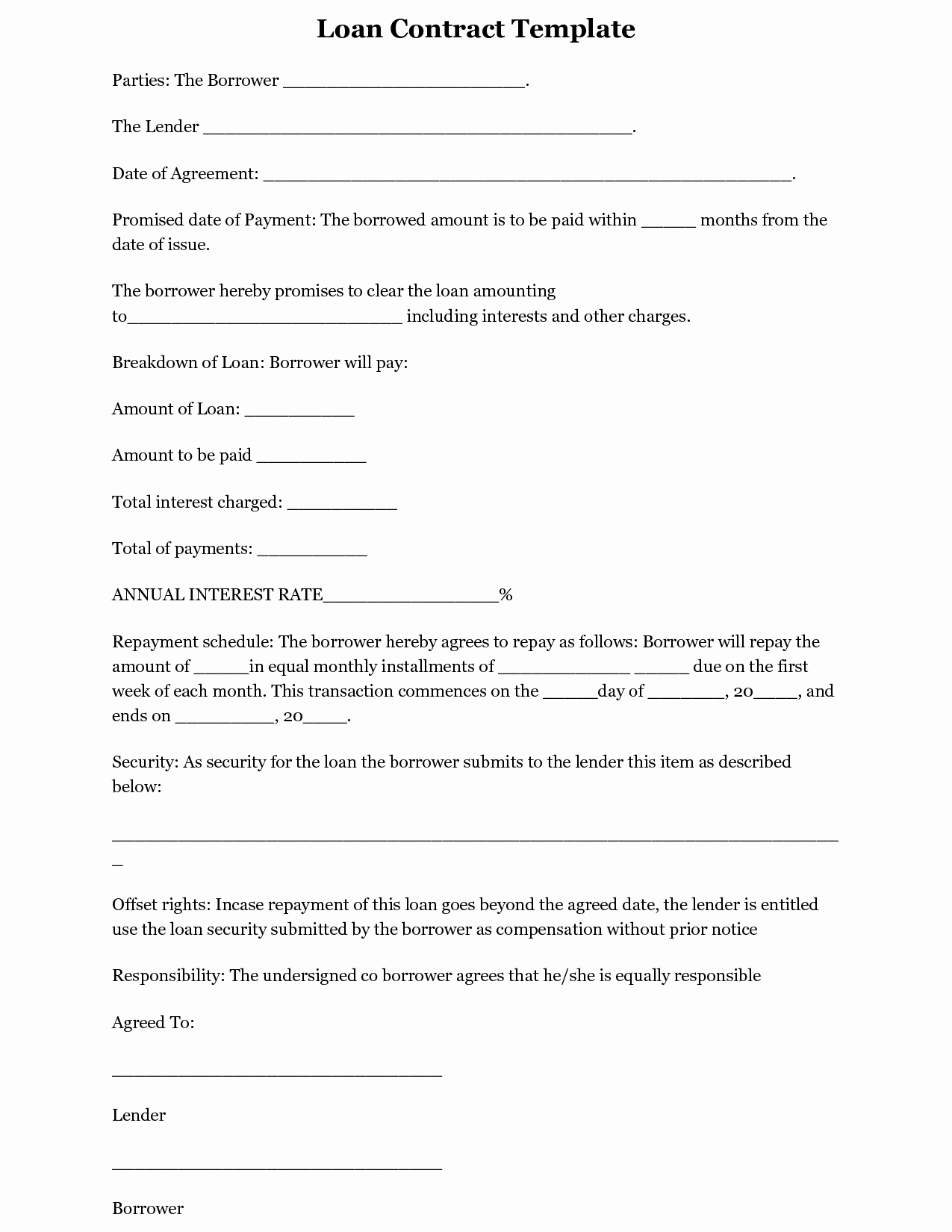 Loan Contract Template Free Beautiful Printable Sample Loan Template form