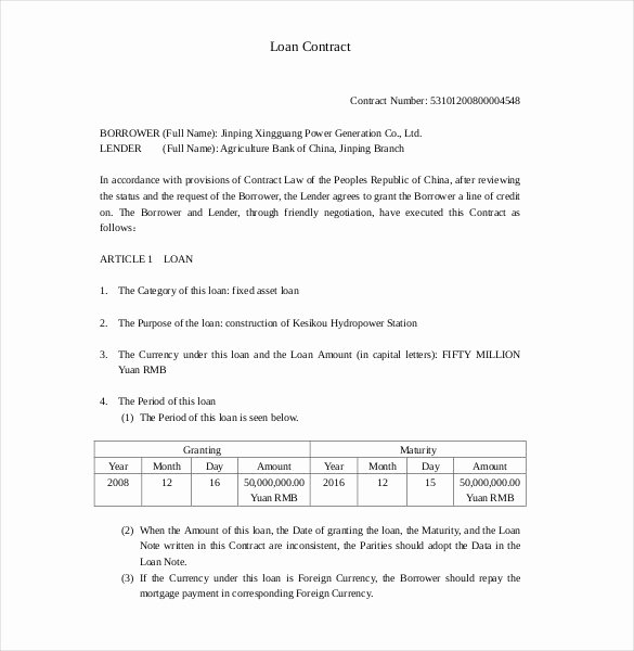 Loan Contract Template Free Elegant 28 Loan Contract Templates – Pages Word Docs