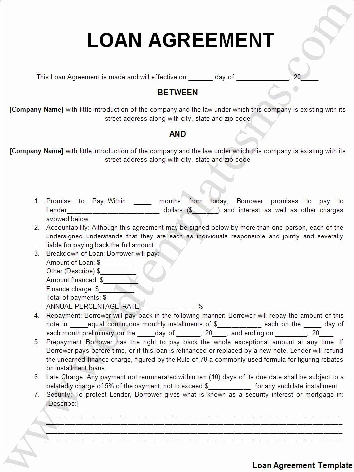 Loan Contract Template Free Lovely Printable Sample Personal Loan Agreement form