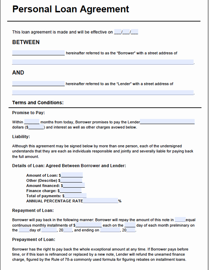 Loan Document Template Free Awesome Personal Loan Agreement Template