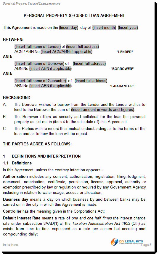 Loan Document Template Free Awesome Simple and Secured Loan Agreement Personal Loan Template