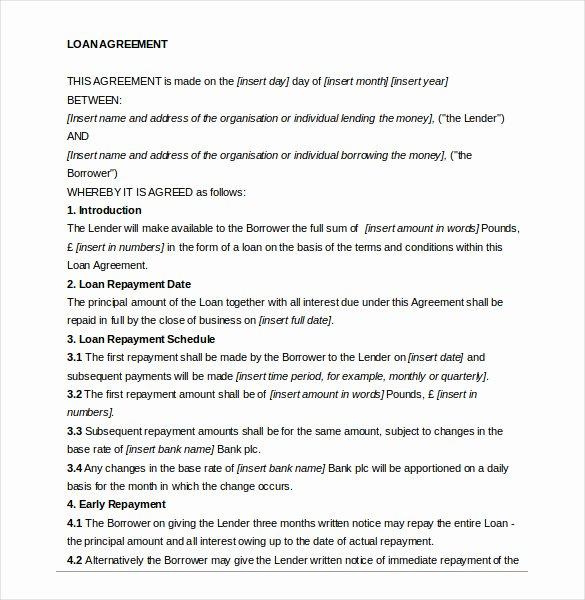 Loan Document Template Free Best Of Loan Agreement Template – 11 Free Word Pdf Documents