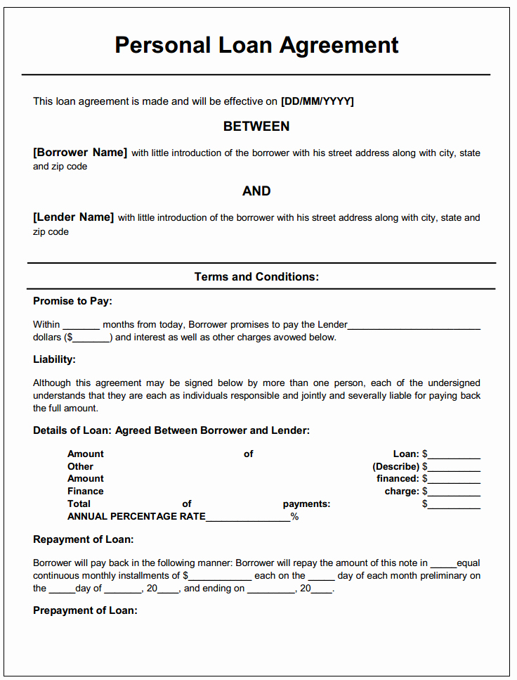 Loan Document Template Free Fresh Personal Loan Agreement