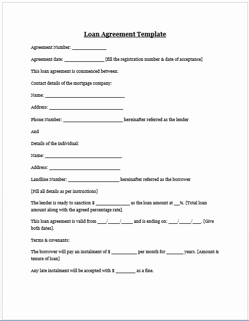 Loan Document Template Free Inspirational Free Printable Personal Loan Agreement form Generic