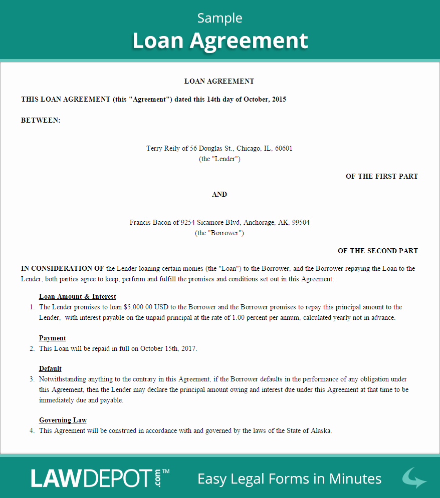 Loan Document Template Free Inspirational Loan Agreement Template Us Free Loan Contract