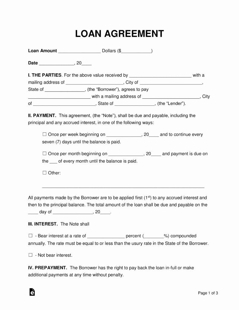 Loan Document Template Free Unique Free Loan Agreement Templates Pdf Word