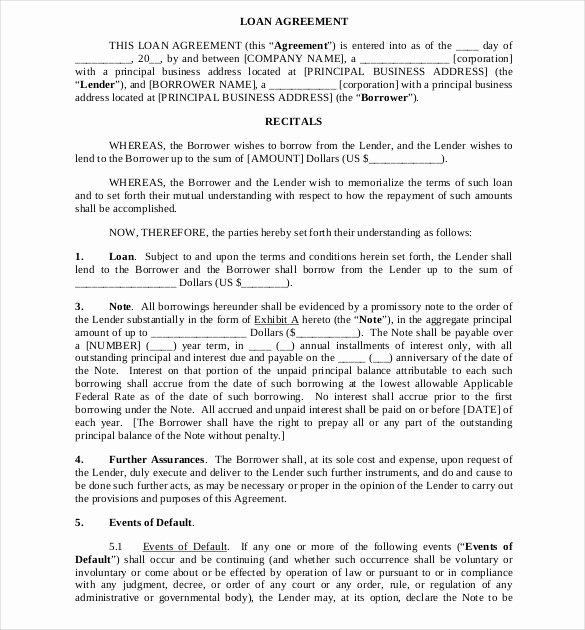 Loan Document Template Free Unique Loan Agreement Template – 11 Free Word Pdf Documents