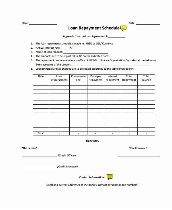 Loan Repayment Document Template Beautiful Loan Agreement form Template