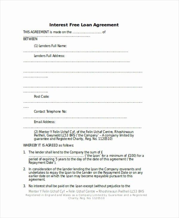 Loan Repayment Document Template Elegant Loan Agreement form Word