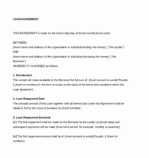 Loan Repayment Document Template Fresh Printable Sample Loan Contract Template form Repayment
